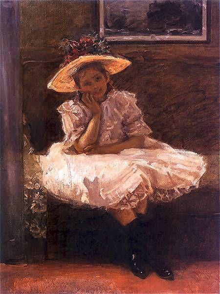 Dziewczynka w kapeluszu z kwiatami