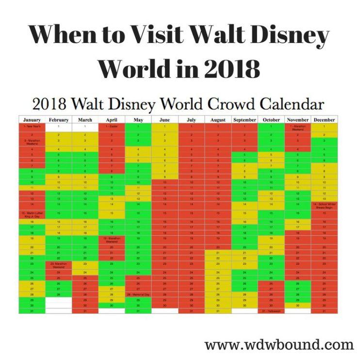 2018 Walt Disney World crowd calendar