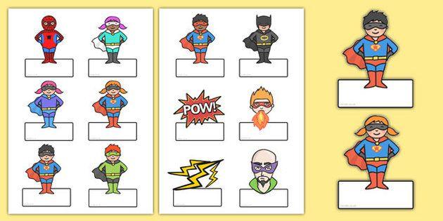 Editable Superhero Labels - editable, superhero themed, editable labels…