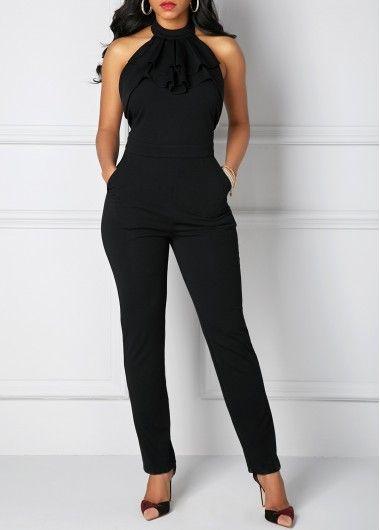 Pocket Solid Black Halter Neck Jumpsuit | Rosewe.com - USD $32.64