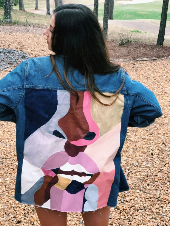 Hand-Painted Distressed Denim Jacket Upcycled
