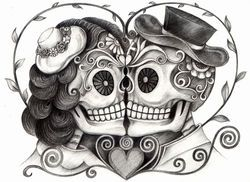 Art skull day of the dead. Hand drawing on paper. by Jiewsurreal, via ShutterStock