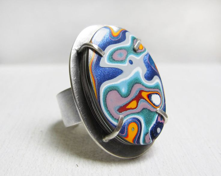 Fordite ring, fordite jewelry, adjustable ring, gift for wife, Detroit Agate, cocktail ring, sterling silver statement ring, mothers day by lulubugjewelry on Etsy https://www.etsy.com/listing/270290816/fordite-ring-fordite-jewelry-adjustable