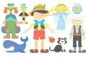 Pinocchio Clipart Set by Julia_Sunrain on Creative Market
