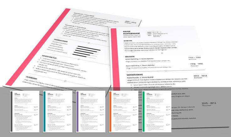 CV template 2015 met overzichtelijke layout. Volledig in Microsoft Word voor elke functie zelf aan te passen. www.mooicv.nl