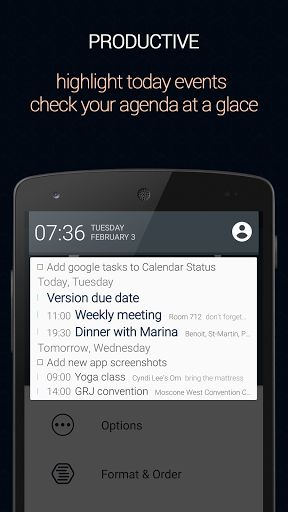 "Calendar Status PRO v2.2.5.1   CalendarStatus PRO v2.2.5.1 Requirements:4.1 Overview:Calendarstatus places your agenda on your notification drawer providing easy andquickaccess to your agenda from any app and any screen.  You can customize almost every detail in the layout so it will perferctly fit your needs and style.  ""After usingCalendarStatus for a few days I wonder why it didn't exist all this time. The app puts your Android device'sCalendarinto your notification drawer and I can't…"