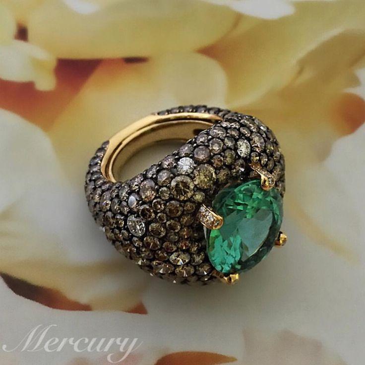 "Mercury on Instagram: ""Кольцо de Grisogono Melody of Colors из розового золота с белыми и коньячными бриллиантами и турмалином. @degrisogono_official #beautiful #jewels #diamonds #deGrisogono #подарки #ювелирка #ювелирныеукрашения #ювелирныеизделия #золото #золото #розовоезолото #like #драгоценности #драгоценныекамни #mercury #mercuryjewelry"""