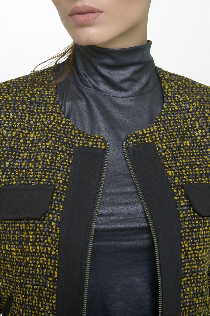 Sarah Lawrence - bouclé crew neck zip blazer with black trimming, lace shoulder jersey top.