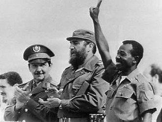 Fidel Castro and Mengistu Haile Mariam celebrating after Ethio-Cuba win over Somalia in 1978 war.