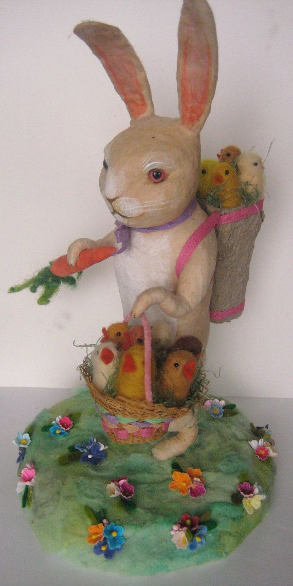 Large Spun Cotton Rabbit Centerpiece with Chicks by MRCROWSGARDEN (Maria Pahls) on Etsy