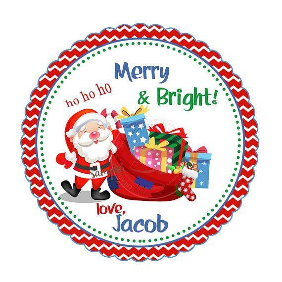 Custom Santa with gifts 2.5 Printable Tags Cute Santa