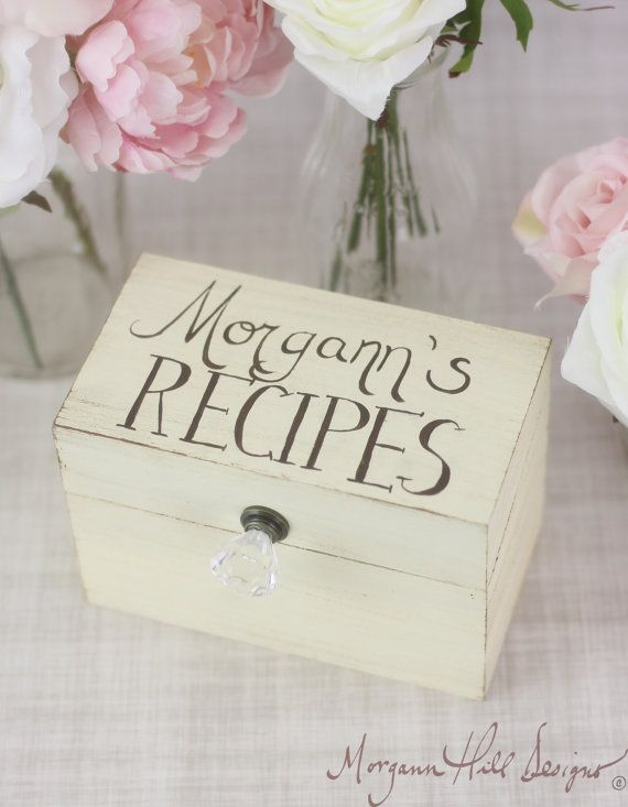 Personalized Recipe Box Rustic Chic Home Decor By Morgann Hill Designs (Item Number 130057) on Etsy, $45.00