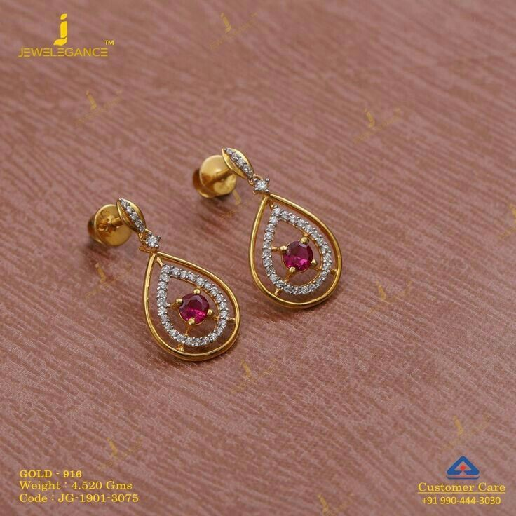 Latest Designs For Daily Wear Gold And Diamond Earrings Gold Earrings Designs Sterling Silver Earrings Studs Jewelry Design Earrings