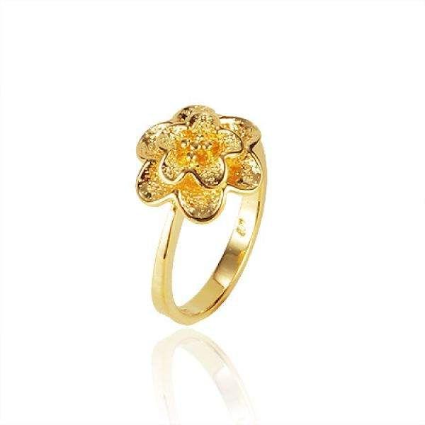 Inel floare placat cu aur galben 18k