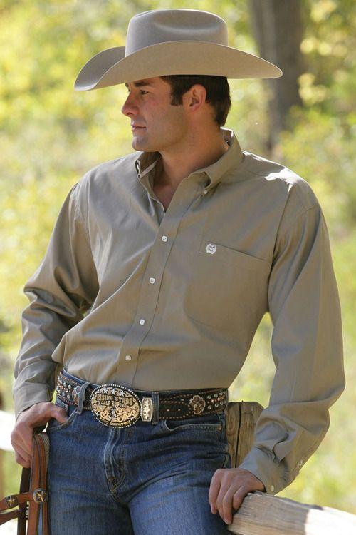 Cinch Khaki Long Sleeve On Down Shirt