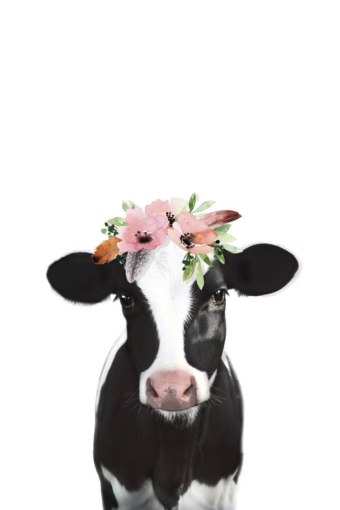 Cow With Flower Crown Hand Bath Towel By Niki Neo Hand Towel Cow Art Farm Animal Paintings Cow Painting