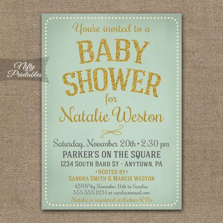 Mint Baby Shower Invitations - Gold Glitter Mint Gender Neutral Shower Invites - Vintage Style Boy Baby or Girl Baby Shower Invitation by NiftyPrintables on Etsy https://www.etsy.com/listing/208109388/mint-baby-shower-invitations-gold