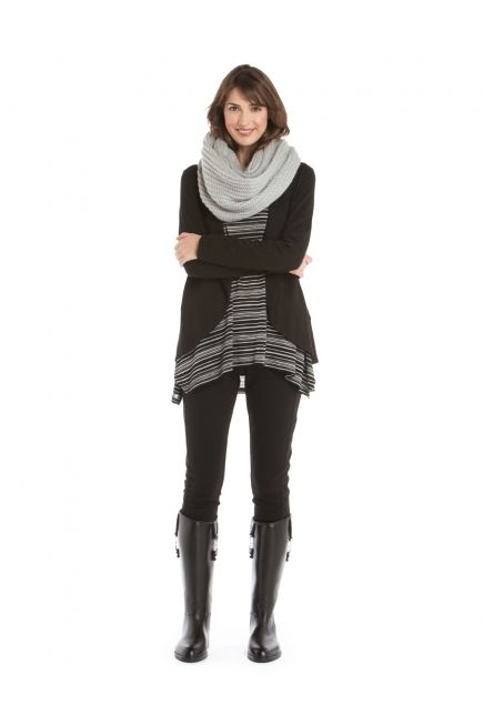 JACOB - Mohair infinity scarf + french terry open cardigan + striped sweater http://www.jacob.ca @Boutique JACOB and #JACOBGIFTS