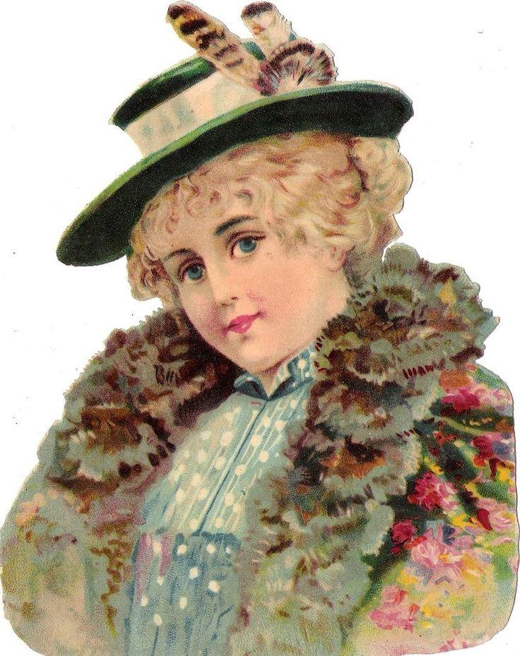 Oblaten Glanzbild scrap diecut chromo Dame 17cm lady femme girl Hut hat: