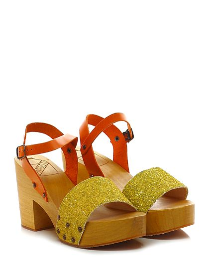 Antidoti - Sandalo alto - Donna - Sandalo alto in glitter e pelle con cinturino alla caviglia e suola in gomma. Tacco 95, platform 40 con battuta 55. - GIALLO\ARANCIO - € 95.00