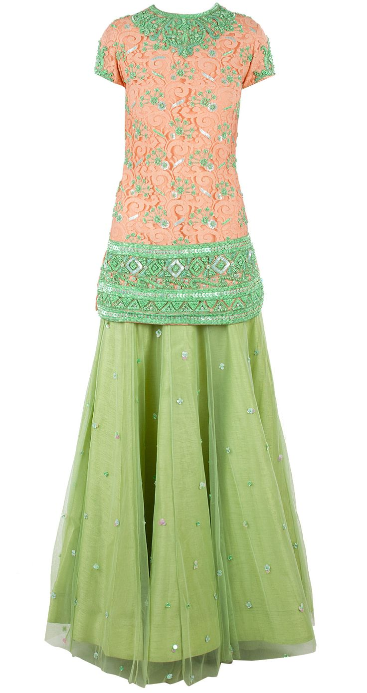 Mint lehnga with embroidered lace blouse by ATSU.  Shop now at perniaspopupshop.com