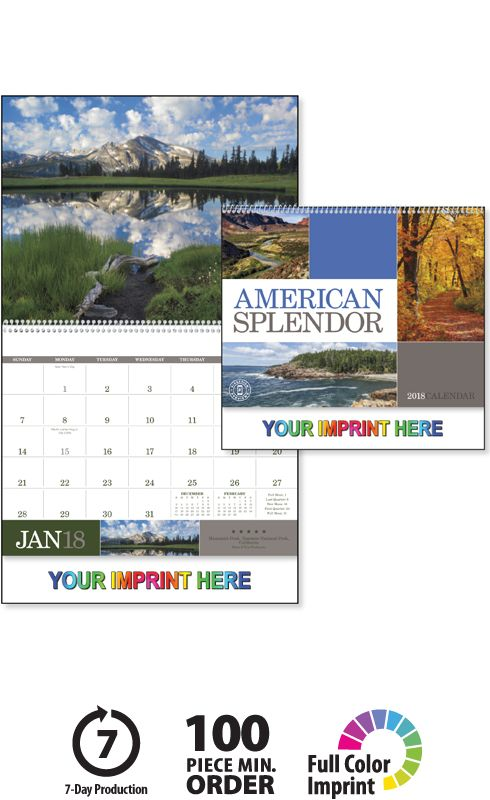 2018 American Splendor Calendar, Imprinted Spiral Bound; spiral Wall Calendars, Promotional Appointment Calendars, american splendor calendars, scenic america, business calendars, promotional wall calendars, personalized wall calendars, 2018 wall calendar, 2018 calendar, promo products, www.valuecalendar..., american splendor calendar, 2018 scenic calendar, business promotional products