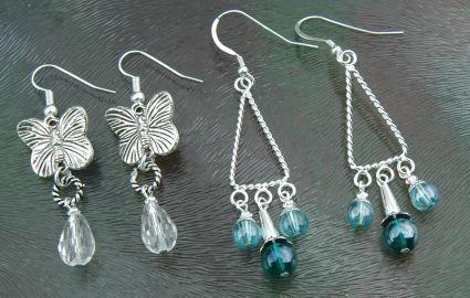 Zelf oorbellen maken, lange chandelier oorhangers met kralen
