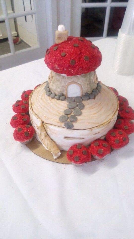 A baby shower cake I had the honor of making for my cousins new little girl #mushroomcake #mushroomhouse #birchtree #carlingscorner