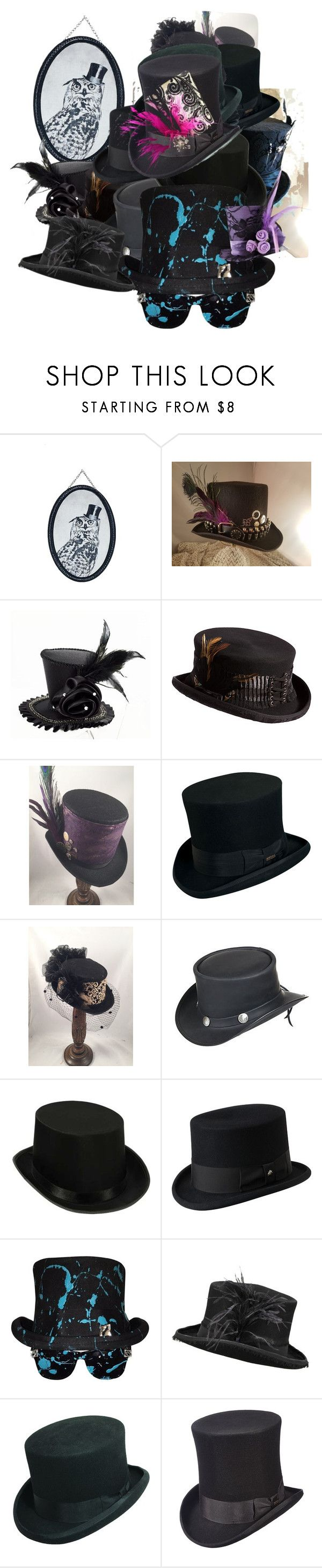 """""""Oswald's Tower of Top Hats"""" by lizbeigle ❤ liked on Polyvore featuring Graham & Brown, Forum Novelties, Overland Sheepskin Co., Scala, Masquerade and Bailey Western"""