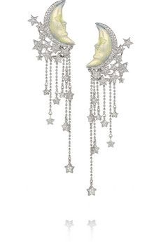Lydia Courteille Moon and Star 18-karat white gold, diamond and enamel earrings | NET-A-PORTER