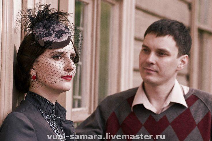 Купить Шляпка-таблетка Эмилия - вечерняя шляпка, шляпка с вуалью, вуалетка, вуаль, серая