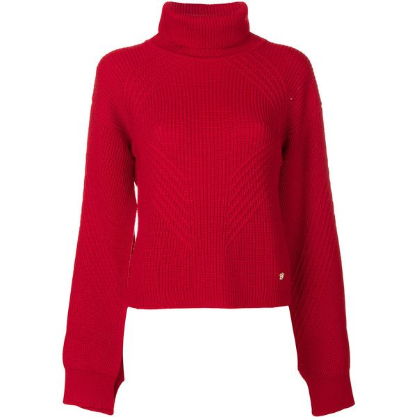 Versace roll neck jumper (37.800 RUB) ❤ liked on Polyvore featuring tops, sweaters, red, wool top, rollneck sweaters, red top, red sweater and red jumper