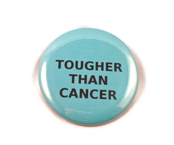Tougher Than Cancer  -  Teal   button/pin  by malibuquilts #ovariancancer #survivor