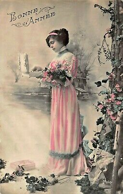 Edwardian Tinted Photo Postcard Beautiful Girl Green Dress Flower Bouquet Roses RPPC