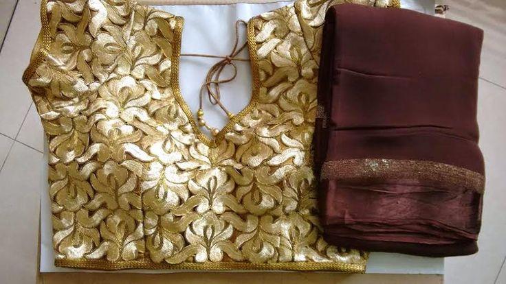 Elegant Fashion Wear: Latest Georgette Sarees Teamed With Readymade Cutwork Blouses  Price:3100/-  #georgettesaree #designersaree