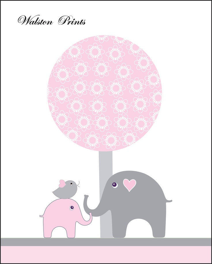 Pink gray nursery art, elephant kids wall art, art for babys room, pictures for girls, bird, tree, nursery decor, pink gray girls wall decor. $12.00, via Etsy.