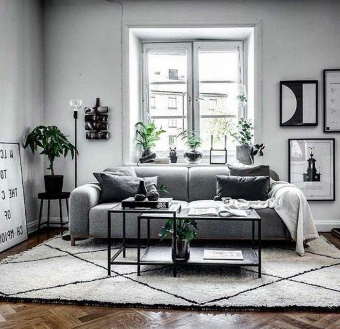 salon scandinave en blanc et gris, plantes vertes qui apportent de la fraîcheur, salon gris et blanc formidable