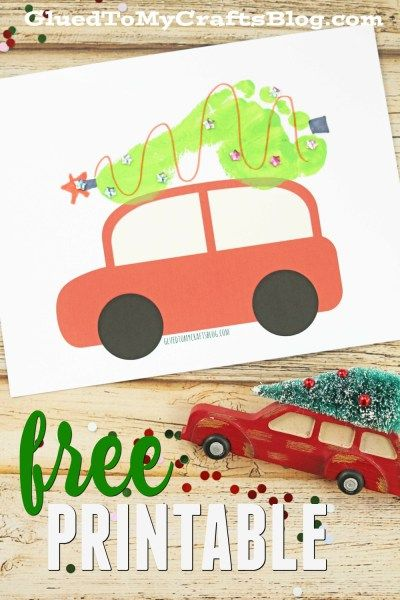Footprint Christmas Tree on Car - Free Printable