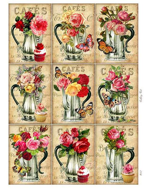 TEA TIME Digital Collage Sheet Roses Teapot Instant Download for Tags Cards Decoupage Original Whimsical Altered Art by GalleryCat