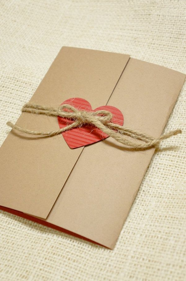 Simple, Rustic Wedding Invitation - Heart and Twine - Perfect for Rustic Weddings.