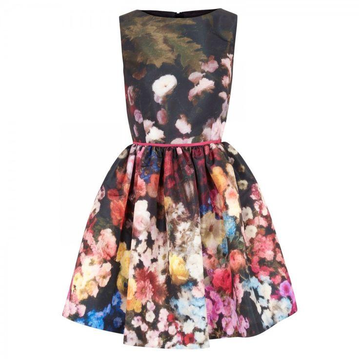 Floral print satin dress_MULT_10