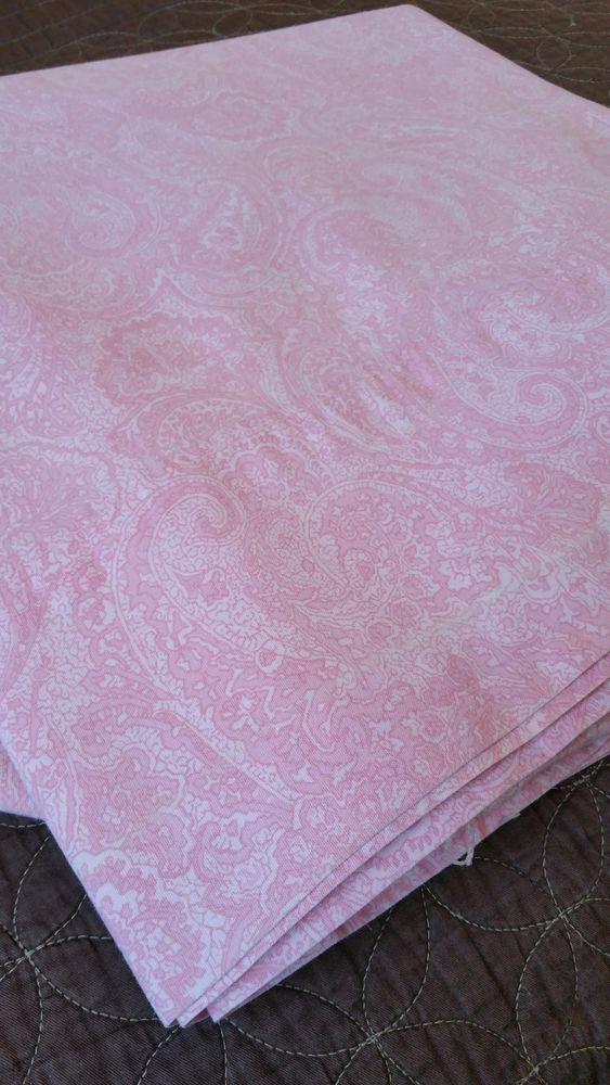 Ralph Lauren Top Flat Paisley Sheet Twin Pink White 100% Cotton