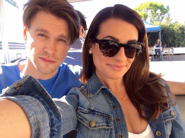 Lea Michele and Chord Overstreet on the Glee set