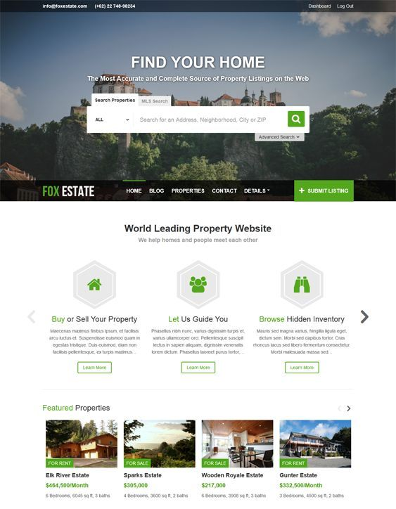 This real estate WordPress theme offers dsIDXpress support, a responsive layout, Google Maps integration, detailed property information, advanced integrated property search, support for 3 payment gateways, and more.