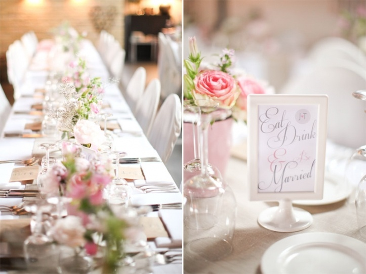 beautiful table setting in pink and burlap
