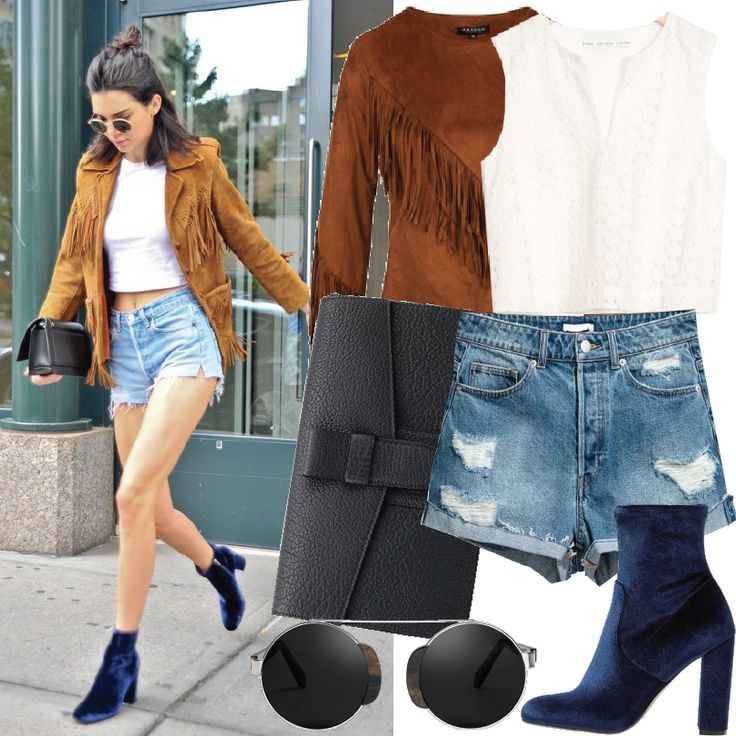 Kendall Jenner Mix&Match, outfit con flecos.