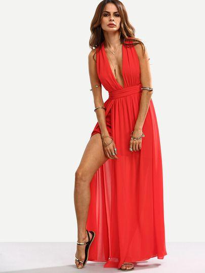 Robe longue fendue col v - rouge