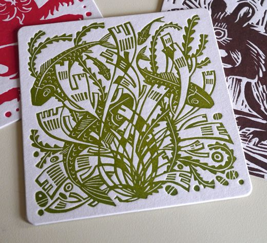 """A linocut beermat by Angie Lewin for the """"St Jude's At Tinsmiths"""" 2012 exhibition http://allthingsconsidered.co.uk/2012/03/st-judes-at-tinsmiths.html"""
