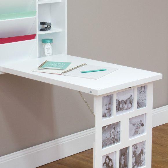 Photo Frame Fold Down Multi Storage Desk - Wall Mounted, 11 x Photo Slots, White Colour