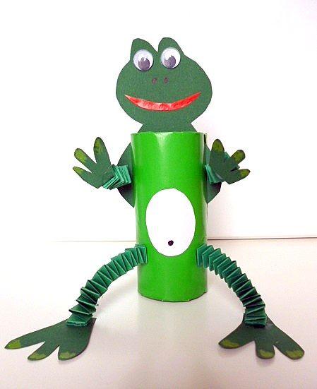 Frosch aus Klorolle und Hexentreppen - Tiere Basteln - Meine Enkel und ich - Made with schwedesign.de